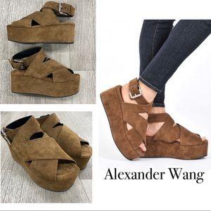 NEW! ALEXANDER WANG Rudy Suede Platform Sandals